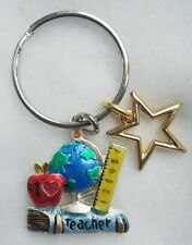 NEW! #1 TEACHER School Books Ruler World APPLE STAR Globe Key Chain Ring