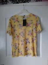 New Look yellow floral mesh t-shirt size 8 BNWTS