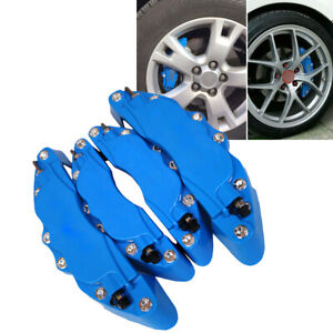 3D Car Disc Brake Caliper Covers Universal 4Pcs Front Rear wheels Kits Blue