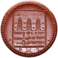Meissen - Münze - 2 Mark 1921 - Meissen - Porzellan braun