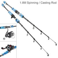 1.8M Fiber Fishing Rod Freshwater Travel Spinning /Casting Lure Sea Carbon Pole
