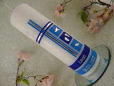 Taufkerze Kerze zur Taufe Kreuz blau silber modern Taufkerzen für Jungen