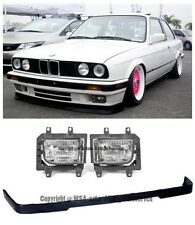 For BMW 84-92 E30 3-Series Front Bumper Lower Lip W/ OE Clear Fog Lights Lamps
