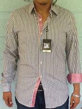 XMI Mens Shirt Multi Pink Stripe Reverse Cuffs Small NWT$90