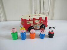 ☺ Ancien Mini Bus Véhicule Fisher Price 5 Personnages Vintage Authentique 1969