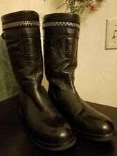 NEW Coach Authentic Vinni Leather Mid Calf Boots $268 Black CC Logo Embossed 7.5
