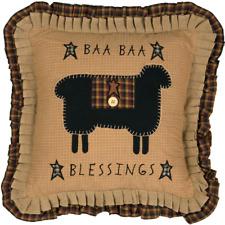Baa Baa Blessings Appliqued Sheep Ruffled Primitive Accent Pillow 18x18