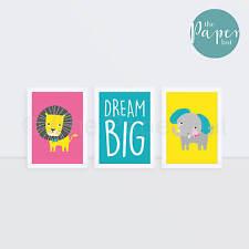 "Girl's Nursery Art Print Pink Turqoiuse Yellow 5""x7"" Three Pack | Circus Safari"