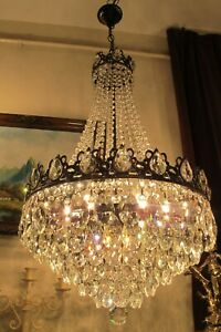 Antique Vintag French Basket style swarovski Crystal Chandelier Lamp Light