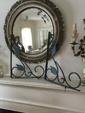 Pair Of Vintage Antique Iron Architectural Brackets Leaf Design Old Blue Paint