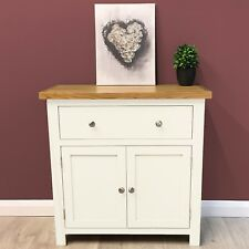 Belgravia White Painted Oak Sideboard / Mini / Cupboard / Solid Wood / Cabinet