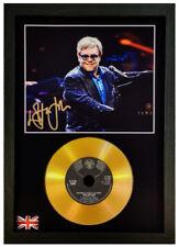More details for elton john signed photograph gold cd disc collectable gift memorabilia mark1