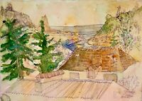 ORIGINAL Watercolor painting on paper artwork SIGNED travel art Crimea Ukraine