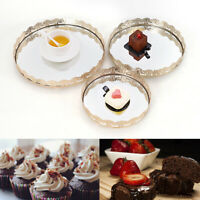 3PCS Round Decorative TRAY Metal Food Kitchen Serving Plates Tray Home Dishes