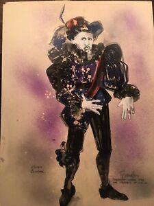 5 INK AND WATERCOLOR Drawings Sante Fe Opera Costume Designs signed Granaton?