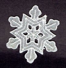 Medium White Snowflake Iridescent/Christmas - Iron on Applique/Embroidered Patch
