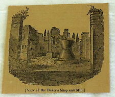 1832 magazine engraving ~ VIEW OF THE BAKERS SHOP & MILL ~ Pompeii Italy