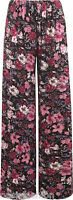 New Plus Size Womens Floral Print Ladies Wide Leg Palazzo Trousers Pants 10 - 26