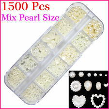 1500pcs Mixed White Half Pearl Size 2mm-8mm Nail Art Decal Accessory Rhinestones