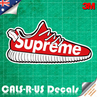 Supreme Shoe Decal Sticker - Car Luggage Skateboard. 3M Film. 100mm.