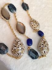 "ALEXIS BITTAR Warm Gray Lucite Blue Lapis Crystal Long Necklace -42"" L, MASSIVE!"