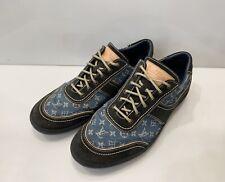 Men's Louis Vuitton Monogram Denim Sneakers Shoes Leather Blue Size 7,5