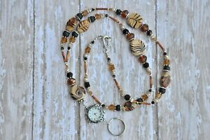 Coffee Sand Cream Handcrafted Crystal Beaded Lanyard ID Badge Sanitizer Holder