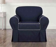 Monaco One Piece Chair Slipcover Midnight Blue/White Sure Fit