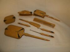 Vintage 9 piece ladies dresser set, bakelite/celluloid art deco design boudoir