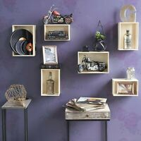 Wine Rack Storage Baskets Wall Mount Wooden Crates Natural Set of 12