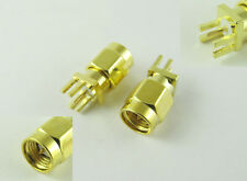"SMA Male Plug Solder 0.062"" PCB PC Board Edge Mount Coaxial RF Connector Adapter"