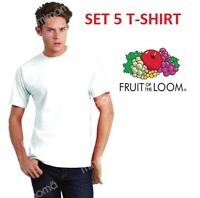 OFFERTA 5 T-SHIRT MAGLIE MAGLIETTE BIANCHE  FRUIT OF THE LOOM stock maglia