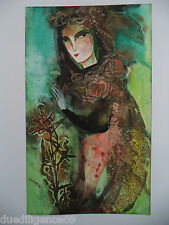 Cuban Cuba Artist Charo Hand SIGNED Painting LADY NATURAL FIBERS   HAVANA 60