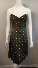 Stunning Betsey Johnson Green Pink Polka Dot Strapless Silk Dress Size 2