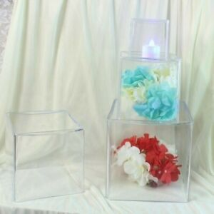 Acrylic Display Square Case Box Cube Candle Plant Holder Container Vase Art Deco