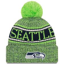 Nfl Seattle Seahawks Green Sideline 2018 Bobble Woolly Hat Cuffed Knit Newera