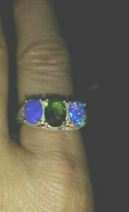 VICTORIAN ANTIQUE STYLE 925 STERLING SILVER PERIDOT & Blue Opal RING SIZE 7