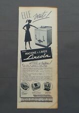 PUB PUBLICITE ANCIENNE ADVERT CLIPPING 220517/ MACHINE A LAVER LINCOLN ELLE VEUT