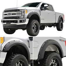 Fits 17-18 Ford Super Duty F-250 4PCS Pocket Rivet Style ABS Fender Flares