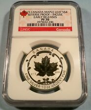 2015 CANADA INCUSE SILVER MAPLE LEAF NGC PR PF 70 S$4 1/2 OZ REVERSE PROOF