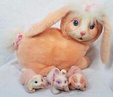 Hasbro BUNNY SURPRISE Pink Pregnant Lop Ear Mom & her 3 Babies rabbbit VINTAGE