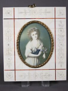Miniaturmalerei Lupenmalerei auf Beinplatte Damen Portrait M.d. Villette sign.