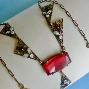"""ART DECO RED CZECH GLASS & ENAMEL NECKLACE ~16"""" LONG"""