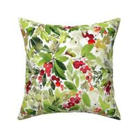 Watercolor Christmas Holiday Throw Pillow Cover w Optional Insert by Roostery