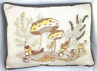 Vintage mushroom pillow Embroidered Colorful 70's Pattern Corduroy Backing