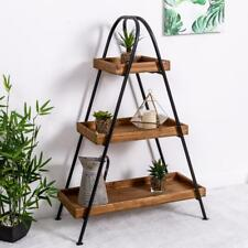 Industrial Shelf Ladder Wooden Metal Shelves Storage Black Freestanding Hallway