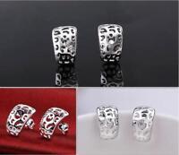 Shniy 925 Sterling Silver Plated Hollow Open Half Huggie Hoop Stud Earrings Gift