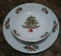 Christmas China Dinner set Crown Ming Jian Shiang 3 pc Setting serves 8 24pc set