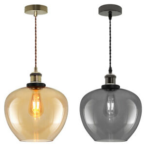 Vintage Smoked Gold Glass Shade Chandelier Pendant Ceiling Hanging Retro Lights