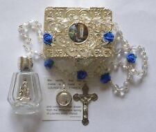Lourdes Water, Virgin Mary Lourdes Water Pendant & Rose Rosary CHRISTMAS Gifts